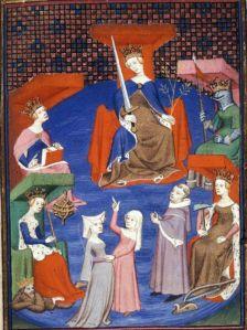 « Le plaidoyer à la cour de Raison» . BL Harley 4431, folio 196v. British Library, Londres. Daté 1410-1414.